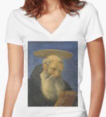 Domenico Veneziano - Head Of A Tonsured, Bearded Saint Women's Fitted V-Neck T-Shirt
