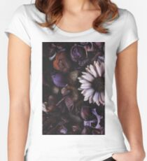 Directly above on a purple floral pattern of dried flowers. Nature backgrounds concept. Women's Fitted Scoop T-Shirt