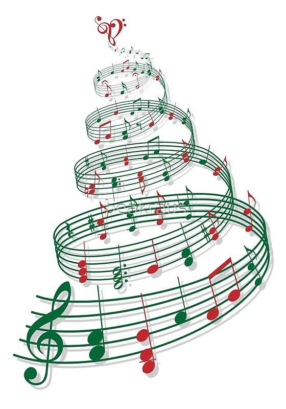 """""""Christmas tree with music notes and heart"""" Posters by ..."""