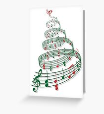 Christmas tree with music notes and heart Greeting Card