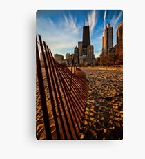 Dunes Fence leads to Chicago skyline Canvas Print