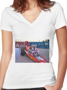 Vintage 'High Compression' Flat Head Dragster Women's Fitted V-Neck T-Shirt