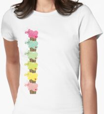 Colorful Sweet Pastel Stacked Cupcakes with Butterflies Womens Fitted T-Shirt
