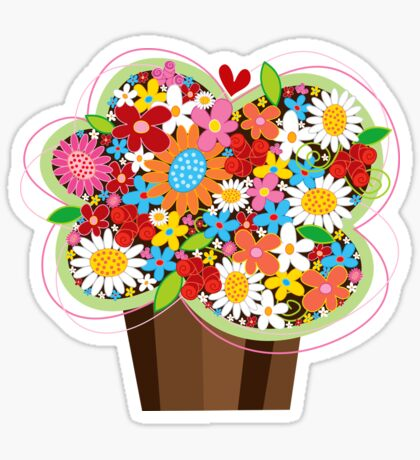 Spring Flowers Whimsical Cupcake Sticker