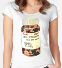 Daily Dose Pug Illustration Women's Fitted Scoop T-Shirt