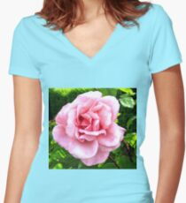 Blushing Pink  Women's Fitted V-Neck T-Shirt