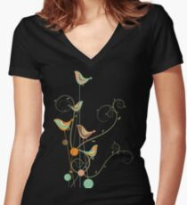 Colorful Whimsical Summer Orange Chocolate and Mint Birds with Swirls Women's Fitted V-Neck T-Shirt