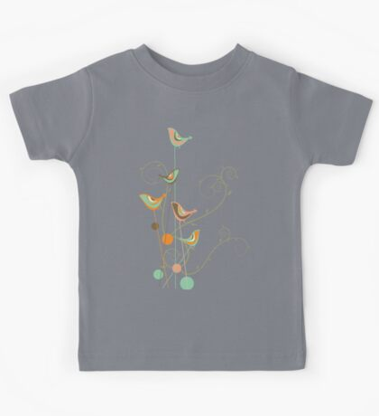 Colorful Whimsical Summer Orange Chocolate and Mint Birds with Swirls Kids Clothes