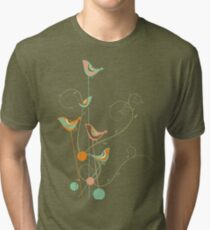 Colorful Whimsical Summer Orange Chocolate and Mint Birds with Swirls Tri-blend T-Shirt