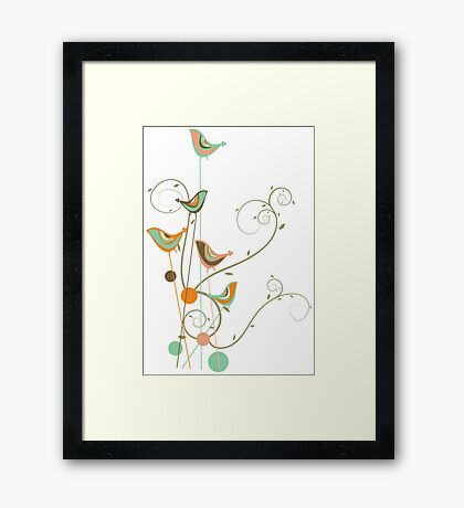 Colorful Whimsical Summer Orange Chocolate and Mint Birds with Swirls Framed Print