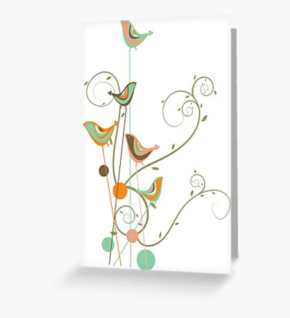 Colorful Whimsical Summer Orange Chocolate and Mint Birds with Swirls Greeting Card