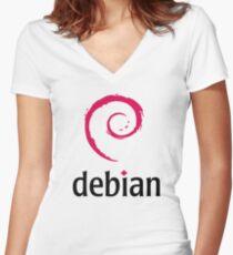 Debian Women's Fitted V-Neck T-Shirt
