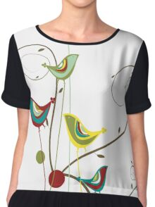 Colorful Whimsical Red Teal and Yellow Summer Birds with Swirls Chiffon Top