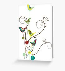 Colorful Whimsical Red Teal and Yellow Summer Birds with Swirls Greeting Card