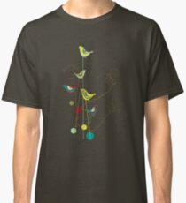 Colorful Whimsical Summer Red, Teal and Yellow Birds with Swirls Classic T-Shirt
