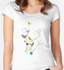 Colorful Whimsical Summer Red, Teal and Yellow Birds with Swirls Women's Fitted Scoop T-Shirt