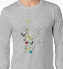 Colorful Whimsical Summer Red, Teal and Yellow Birds with Swirls Long Sleeve T-Shirt