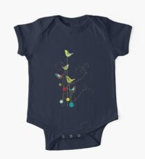 Colorful Whimsical Summer Red, Teal and Yellow Birds with Swirls One Piece - Short Sleeve