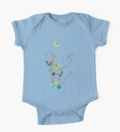 Colorful Whimsical Summer Red, Teal and Yellow Birds with Swirls Kids Clothes