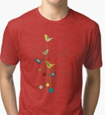 Colorful Whimsical Summer Red, Teal and Yellow Birds with Swirls Tri-blend T-Shirt