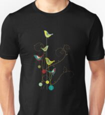 Colorful Whimsical Summer Red, Teal and Yellow Birds with Swirls Unisex T-Shirt