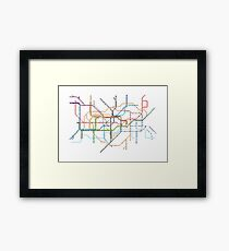 London Underground Pixel Map Framed Print