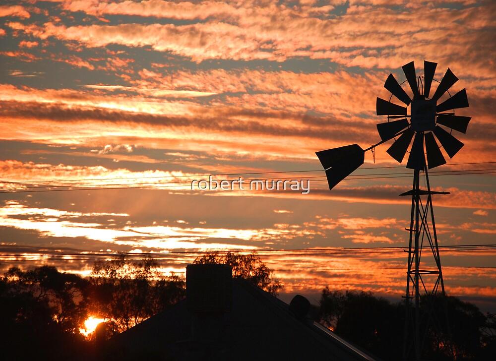 windmill sunset by robert murray