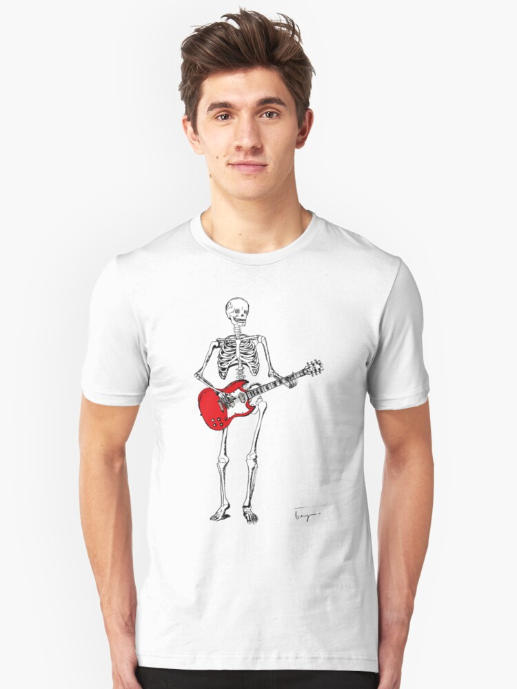 theres a skeleton with my guitar Unisex T-Shirt Front