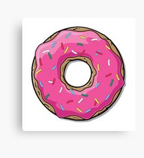 Pink Strawberry Frosted Donut with Sprinkles Canvas Print