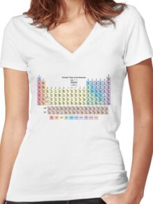 Periodic Table with all 118 Element Names Women's Fitted V-Neck T-Shirt