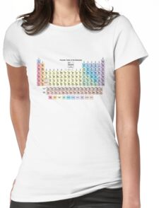 Periodic Table with all 118 Element Names Womens Fitted T-Shirt