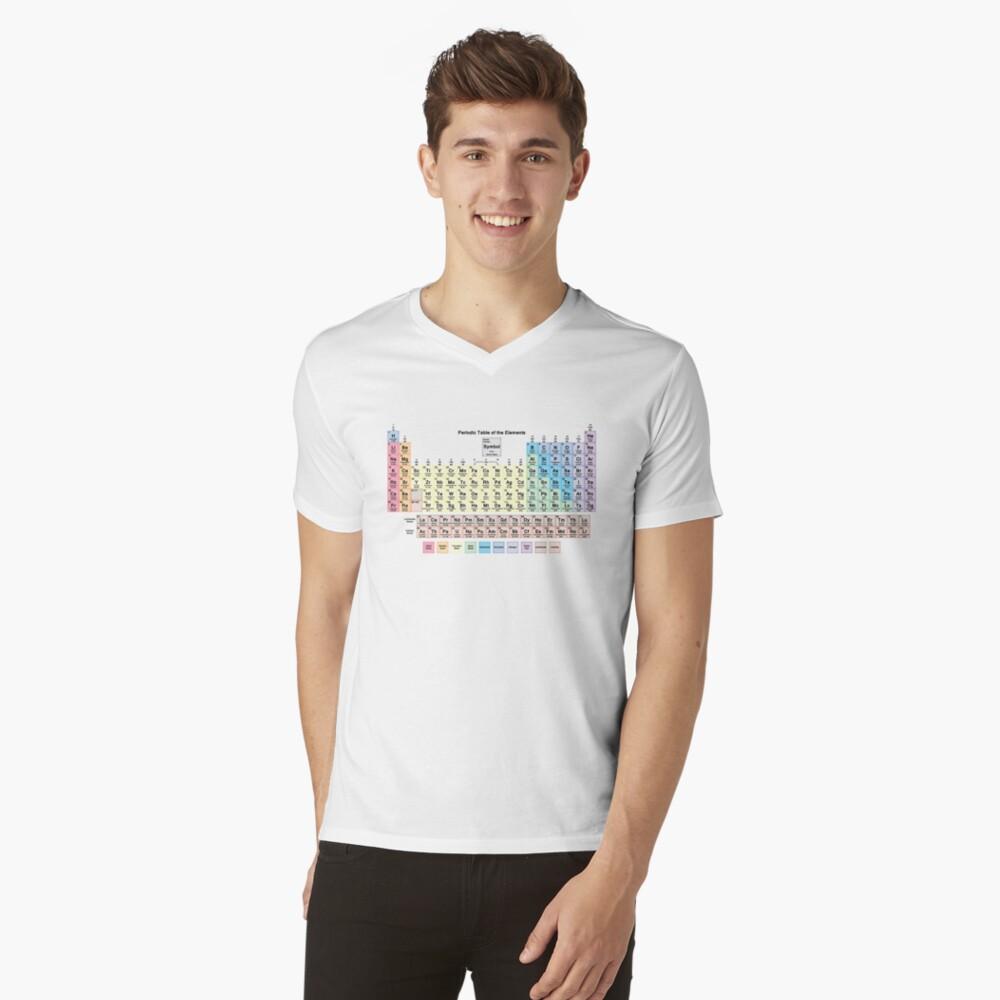 Tabla periódica con todos los 118 nombres de elementos Camiseta de cuello en V