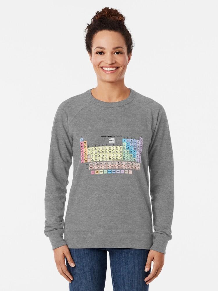 Vista alternativa de Sudadera ligera Tabla periódica con todos los 118 nombres de elementos