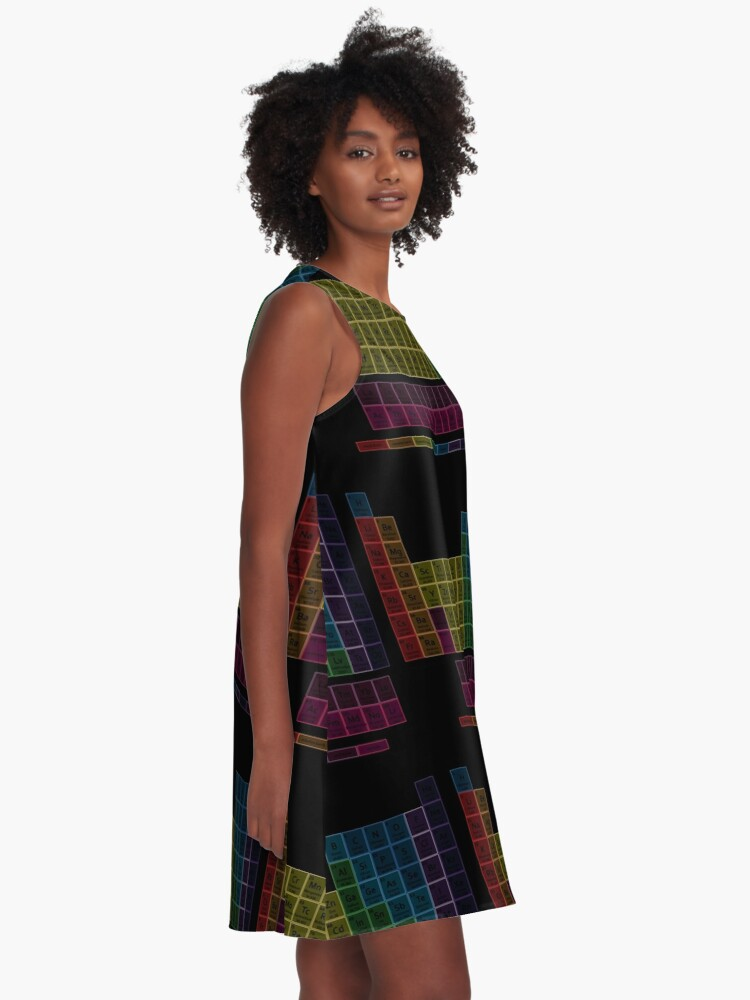 Alternate view of Muted Colors Periodic Table A-Line Dress