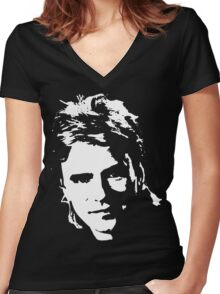 Who's the man Women's Fitted V-Neck T-Shirt