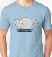 Gray Cat With Funny Eyes Skateboarding T-Shirt