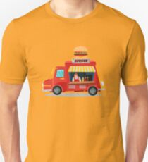 Street Food Concept with Burger Food Truck and Seller Unisex T-Shirt