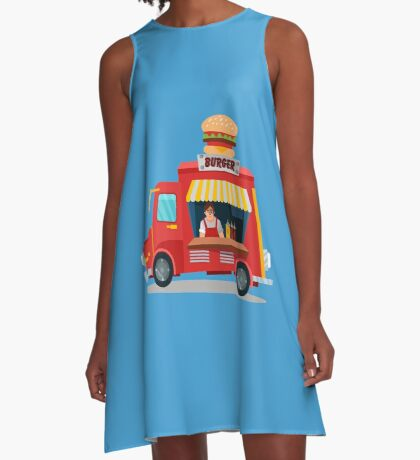Street Food Concept with Burger Food Truck and Seller A-Line Dress