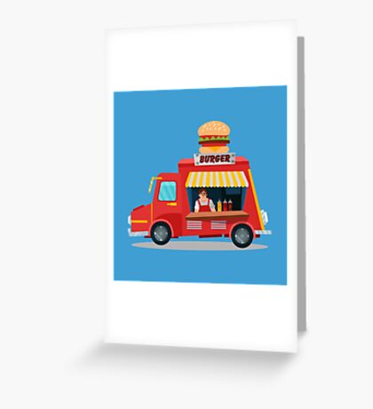 Street Food Concept with Burger Food Truck and Seller Greeting Card