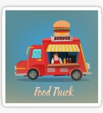 Street Food Concept with Burger Food Truck and Seller Sticker
