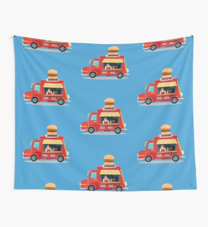 Street Food Concept with Burger Food Truck and Seller Wall Tapestry