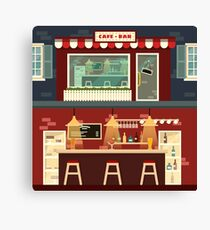 Cafe-Bar Facade and Interior in flat style Canvas Print