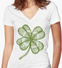 Vintage lucky clover Women's Fitted V-Neck T-Shirt