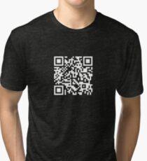 Barcode Rickroll! (white) Tri-blend T-Shirt