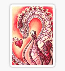 Love Dragon - Hearts and horns Sticker