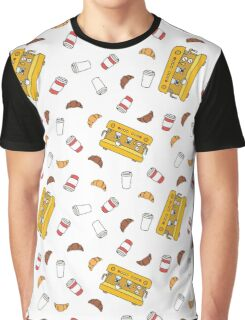 professional coffee machine, take away coffee cup, croissant Graphic T-Shirt