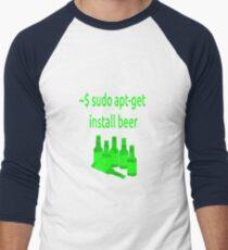 Linux sudo apt-get install beer Men's Baseball ¾ T-Shirt