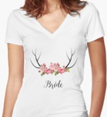 Rustic Wedding Party Bride Floral Antler Women's Fitted V-Neck T-Shirt