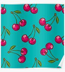 Berry color Hand drawn vector set. Fruit botany illustration. Berries engraving doodle sketch etch line. Cherry. Dessert ingredient Poster