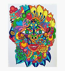 Coggery technicolour splat a tat face is looking at you Photographic Print